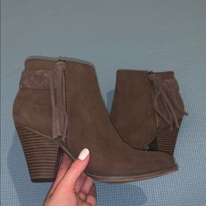 suede brownish- taupe ankle booties